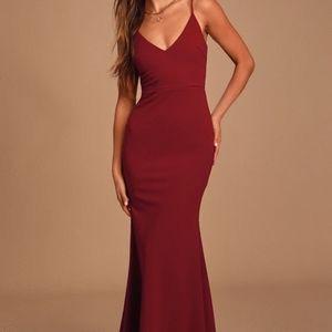 Infinite Glory Wine Red Maxi Dress